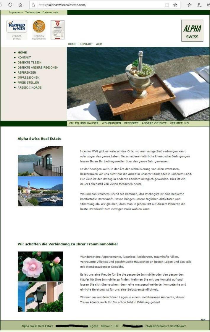 Screenshot gefälschte Webseite Immobilienfirma