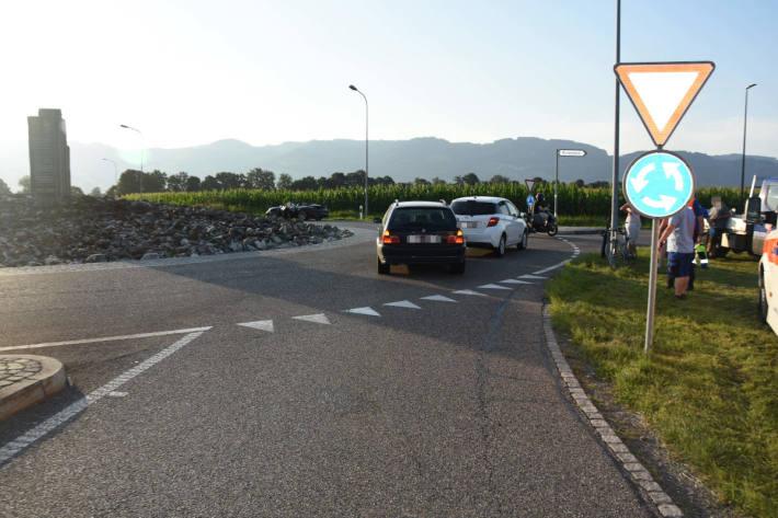 Unfall zwischen Auto und Velo in Kriessern