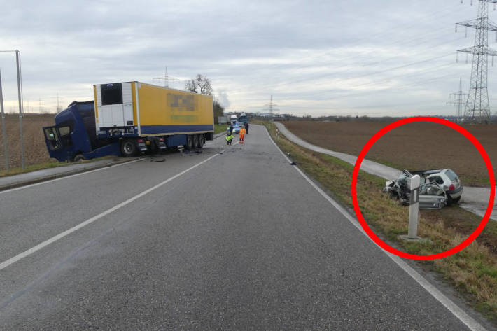 Unfallstelle auf der B27 bei Talheim
