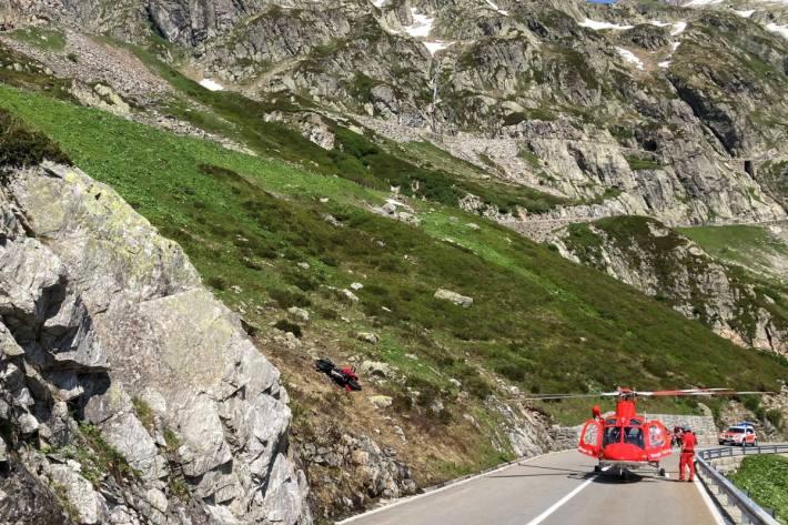 Motorradfahrer auf der Sustenpasstrecke bei Wassen UR verunglückt.
