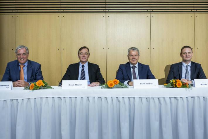 Die Verantwortlichen an der Bilanzmedienkonferenz der Suva.