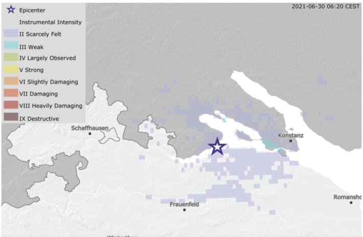 Bei Steckborn im Kanton Thurgau wurde ein Erdbeben registriert.