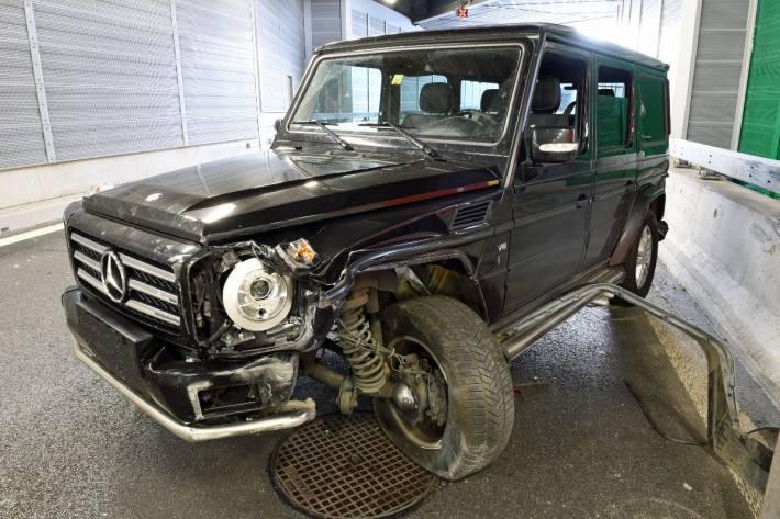 Der Mercedes wurde beim Unfall gestern in Luzern massiv beschädigt.