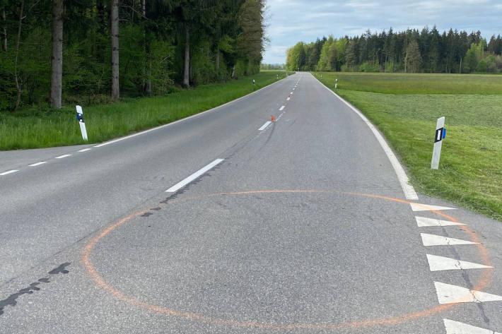 Unfallstelle bei Hünenberg
