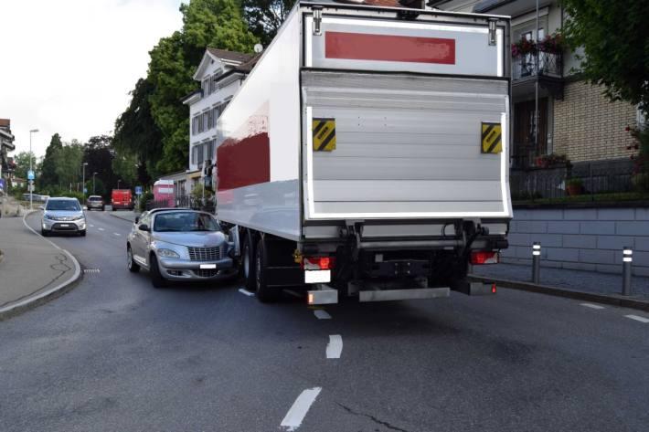 Zum Glück wurde beim Unfall in Heiden AR gestern niemand verletzt.