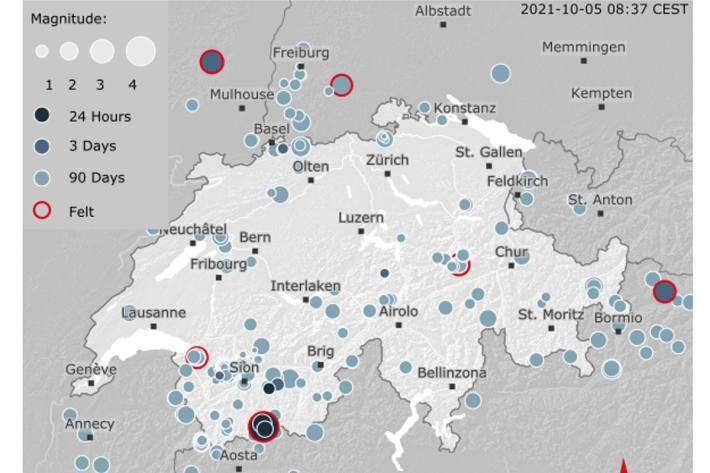 Im Kanton Wallis hat heute morgen in der Nähe von Arolla die Erde gebebt.