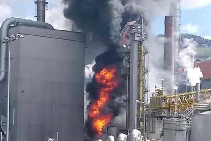 """Gestern kam es in einem Zellstoffwerk in Frantschach in einem sogenannten """"Druckdiffuseur"""" zu einer Überhitzung und in der Folge zu einem Brand und einer Explosion"""