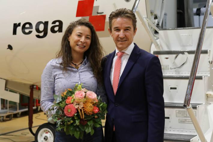 Rega-CEO Ernst Kohler mit Gönnerin Elida Selerger