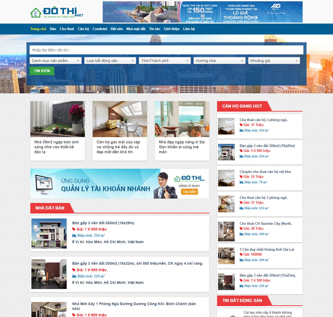Mẫu web bất động sản rao vặt thumbnail