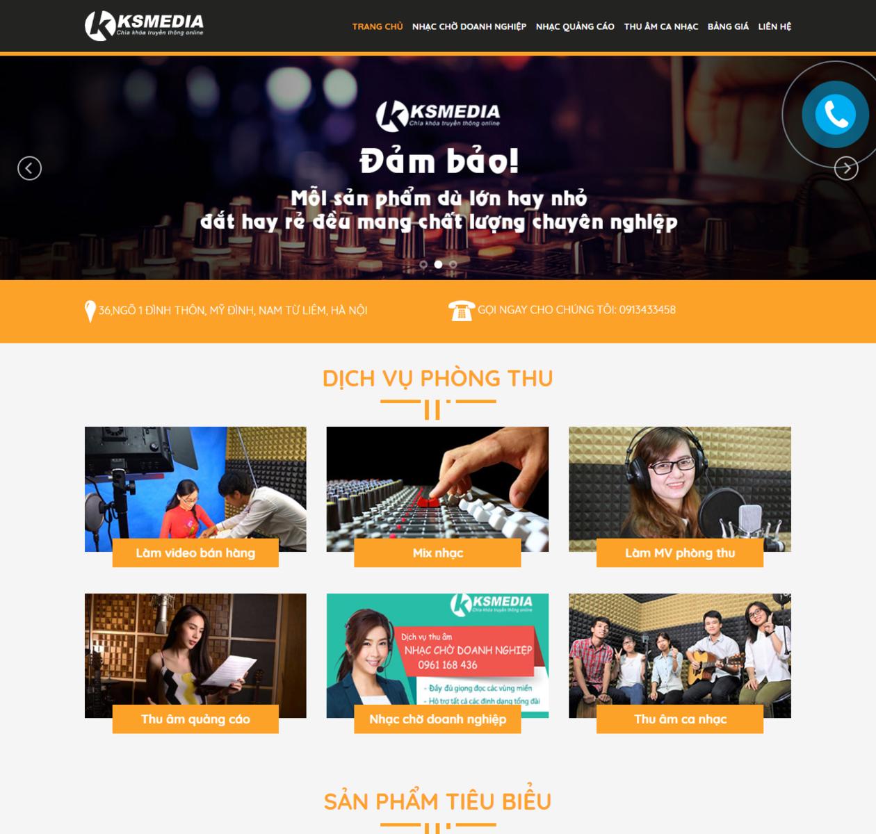 Thiết kế web phòng thu ksmedia.vn thumbnail