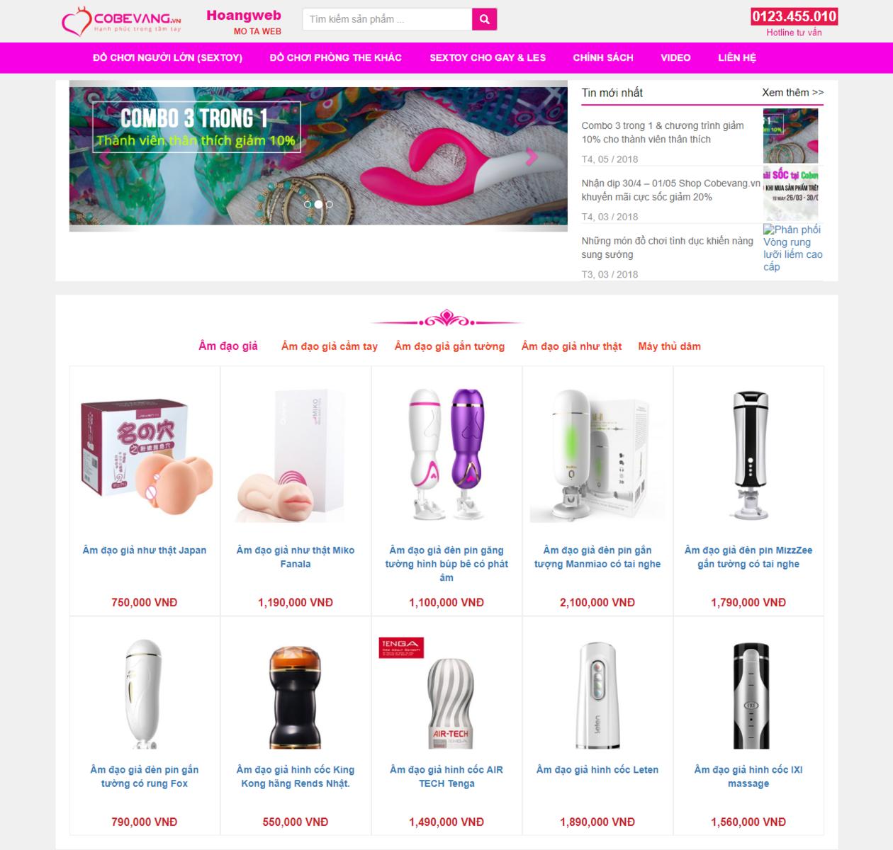Mẫu website bán sextoy 24h thumbnail