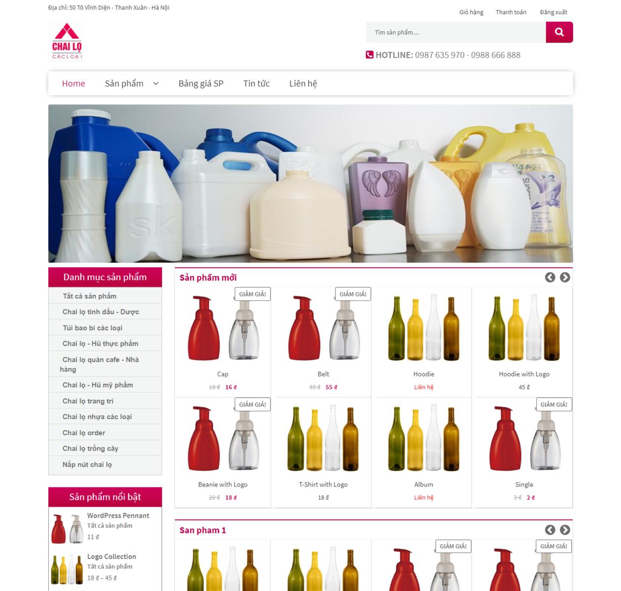 Mẫu web bán chai lọ 2017 thumbnail
