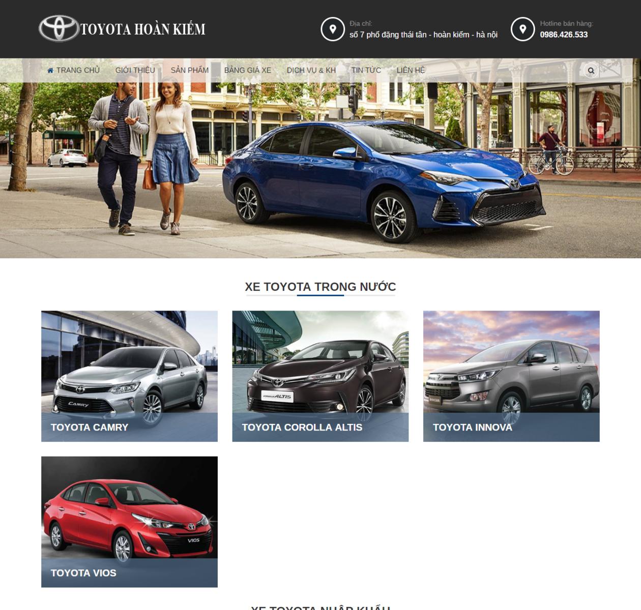 Mẫu giao diện bán oto Toyota thumbnail
