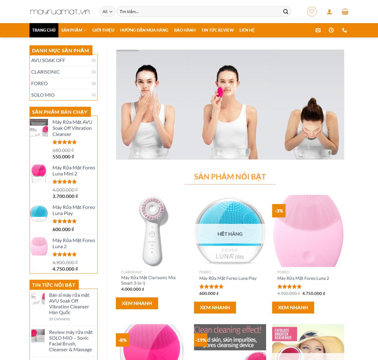 Thiết kế web bán máy rửa mặt thumbnail