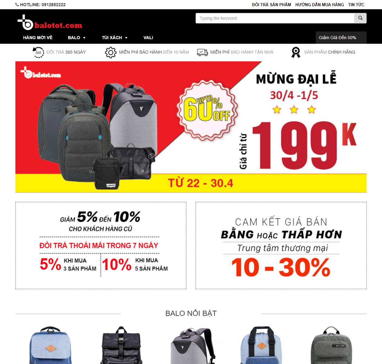 Thiết kế web bán balo thumbnail