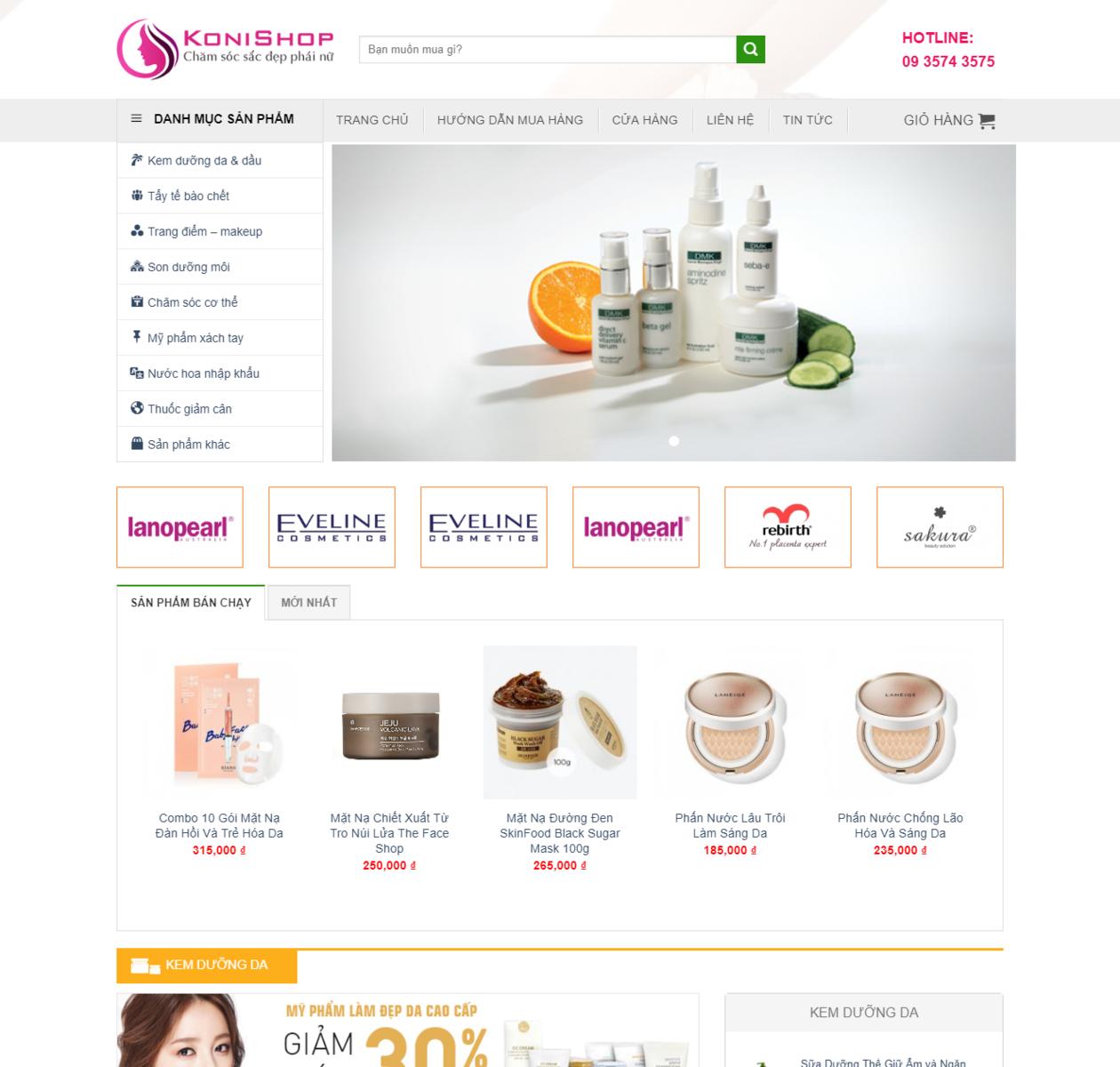 Mẫu trang web bán mỹ phẩm thumbnail