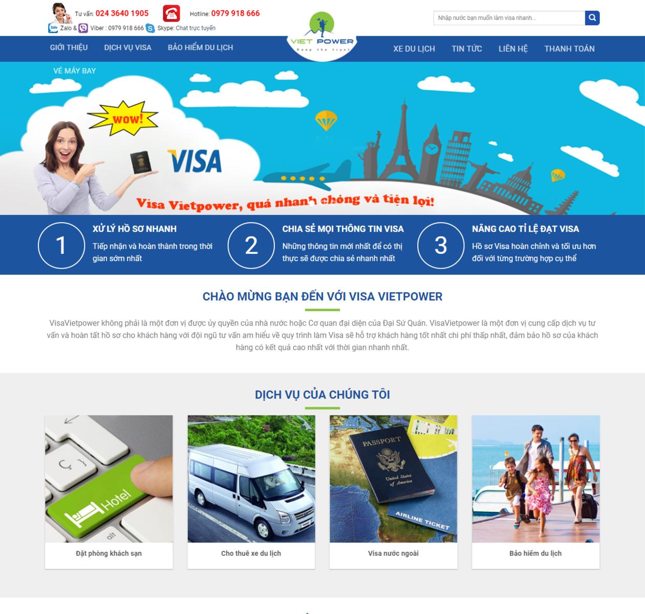 Mẫu web du lịch VISA Hộ chiếu thumbnail