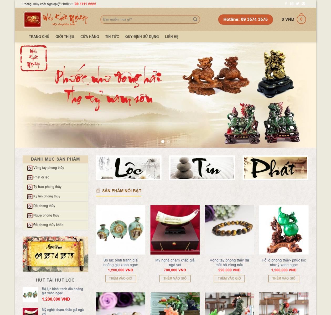 Mẫu website bán đồ phong thủy thumbnail
