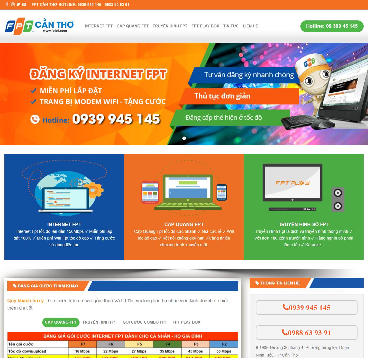 Mẫu web dịch vụ lắp mạng FPT thumbnail