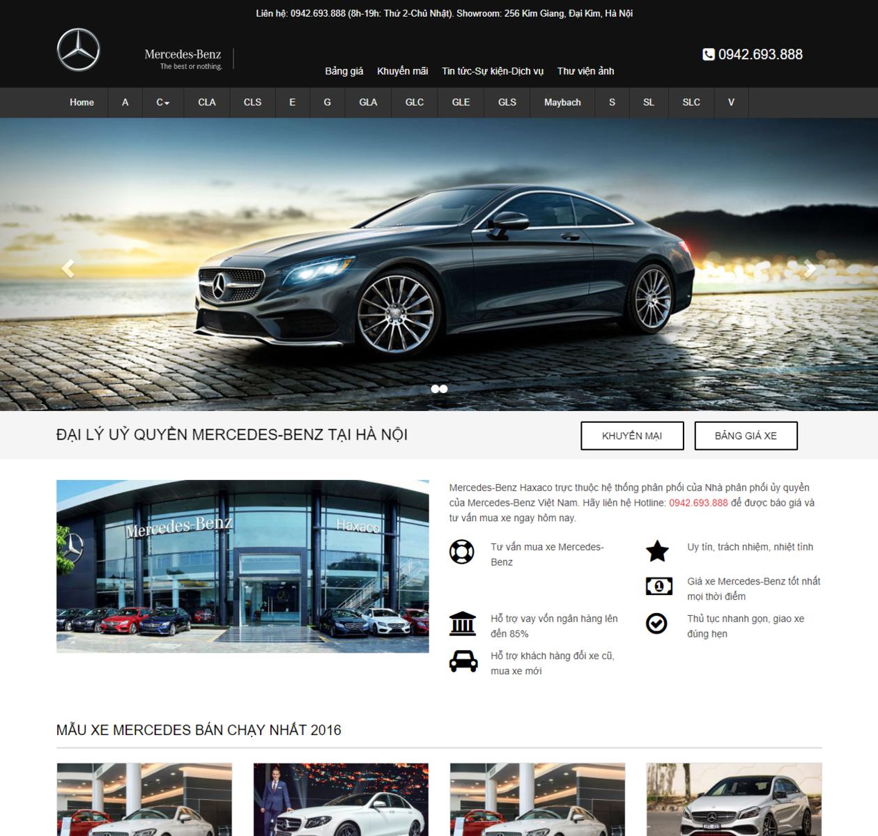 Mẫu web bán oto mercedes thumbnail