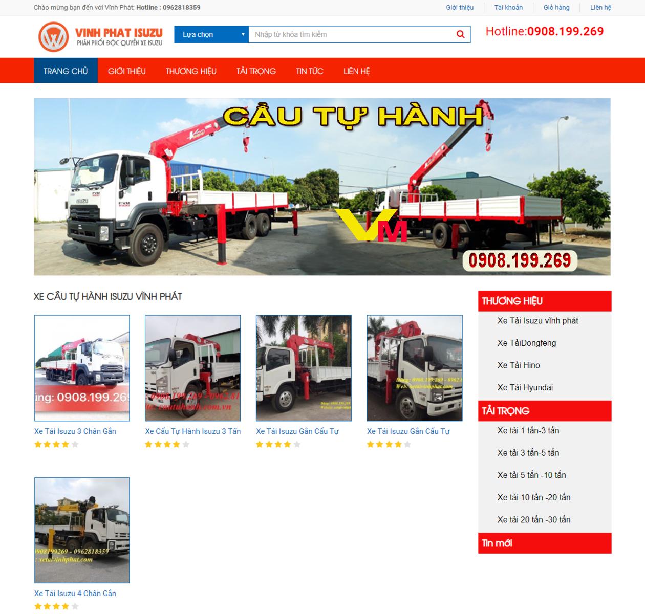 Mẫu website bán xe tải thumbnail