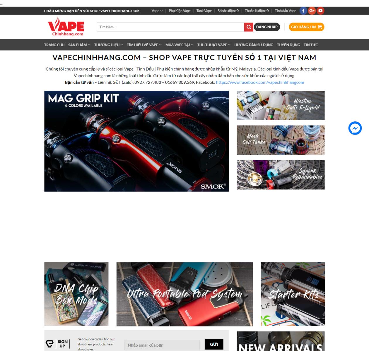 Mẫu web bán thuốc lá điện tử vape thumbnail