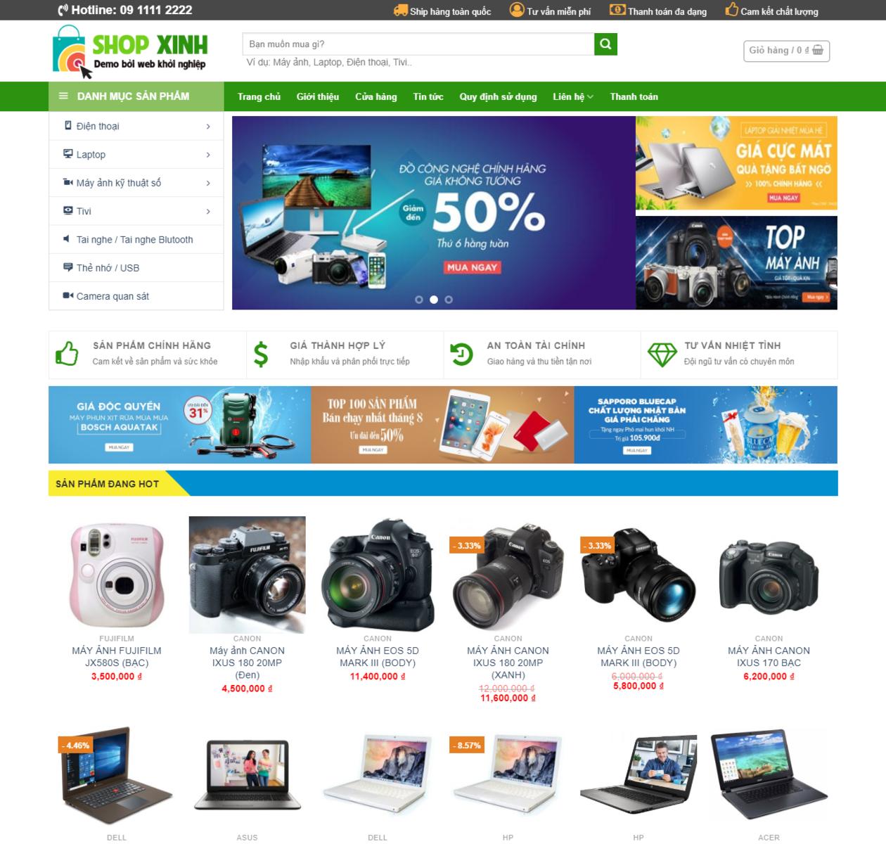 Mẫu web bán hàng công nghệ thumbnail
