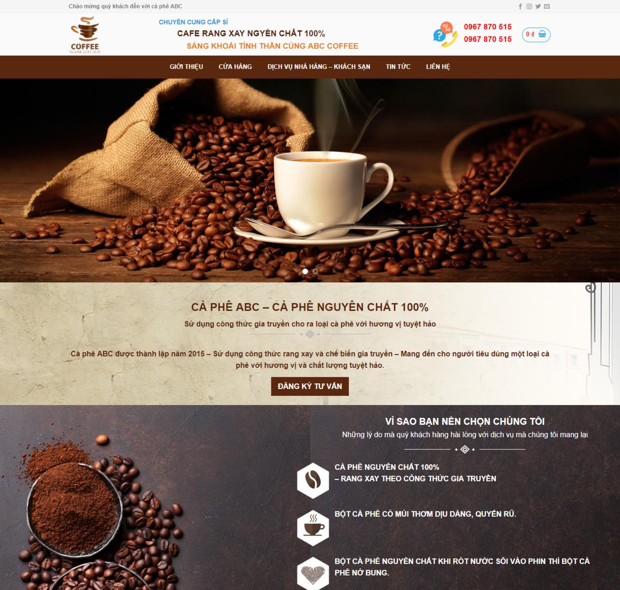 Mẫu web bán cà phê thumbnail