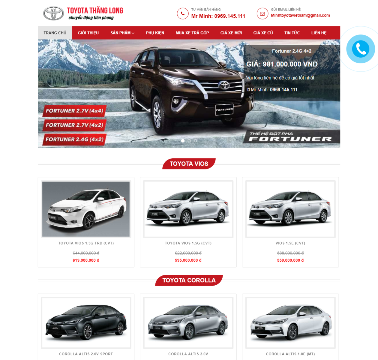 Mẫu web bán xe toyota thumbnail