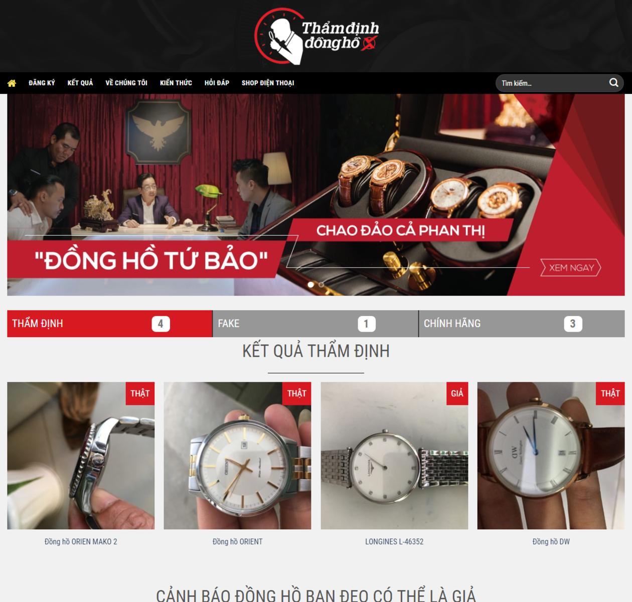 Thiết kế web thẩm định đồng hồ thumbnail