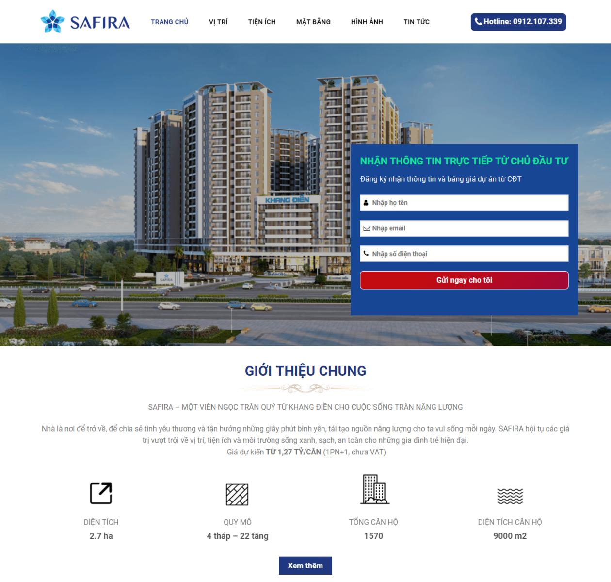 Mẫu web bất động sản SaFira thumbnail