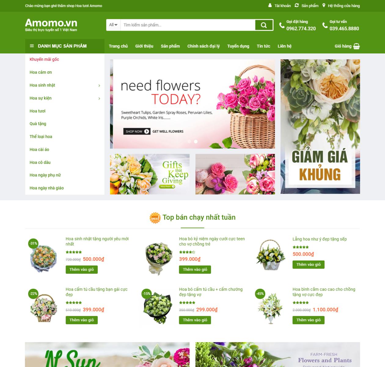 Mẫu web bán hoa cực đẹp thumbnail