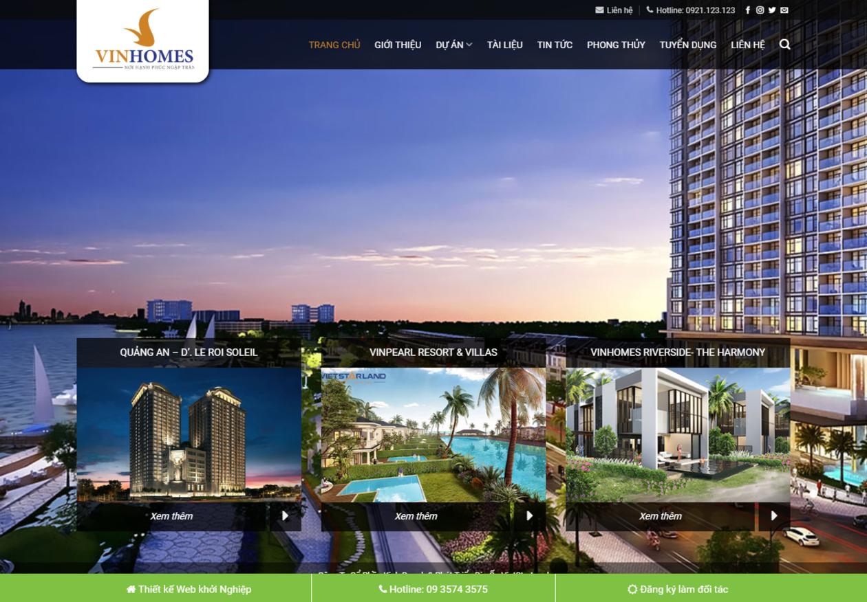 Mẫu web bất động sản Vinhomes thumbnail