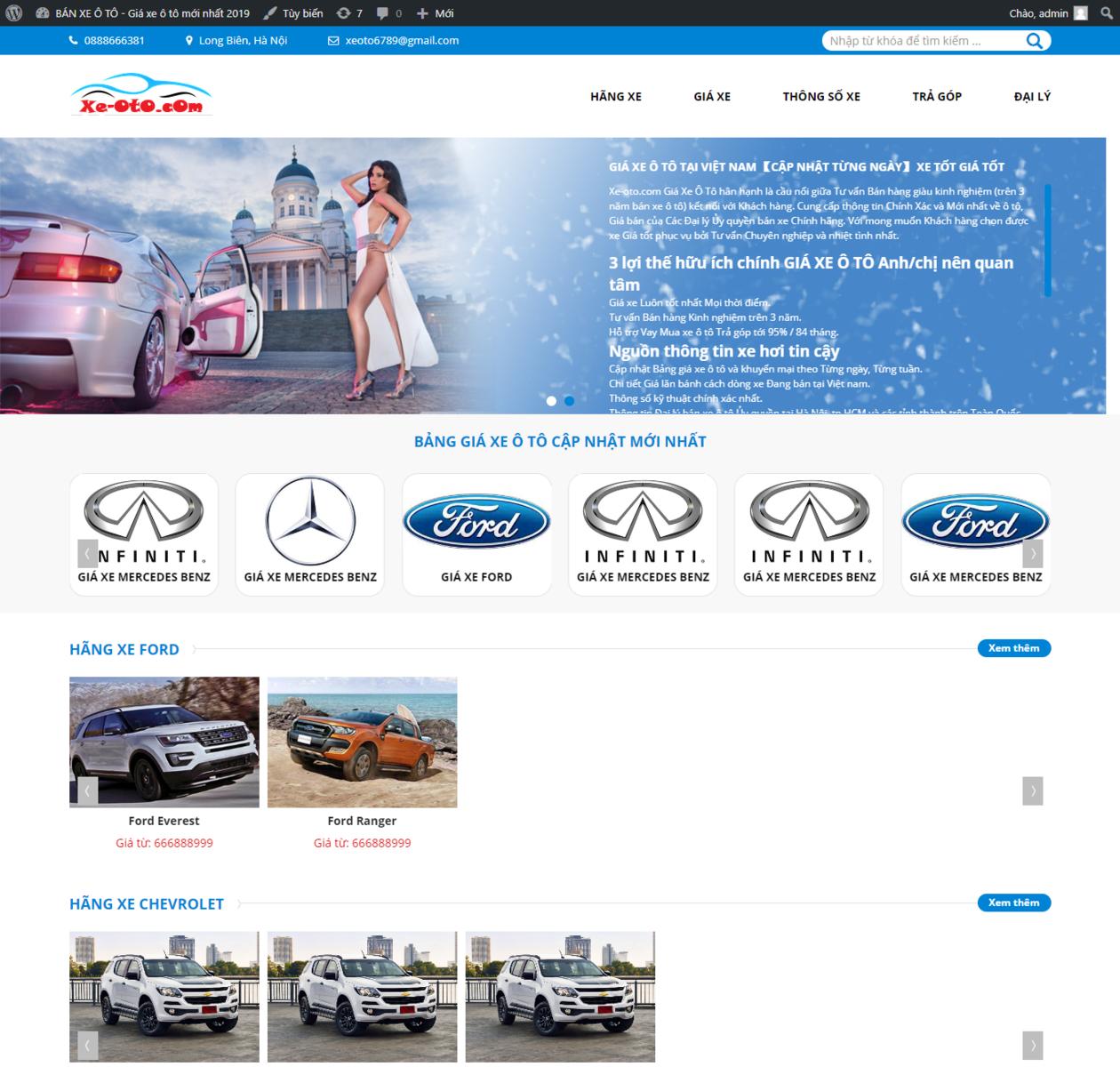 Mẫu web đánh giá xe ô tô thumbnail