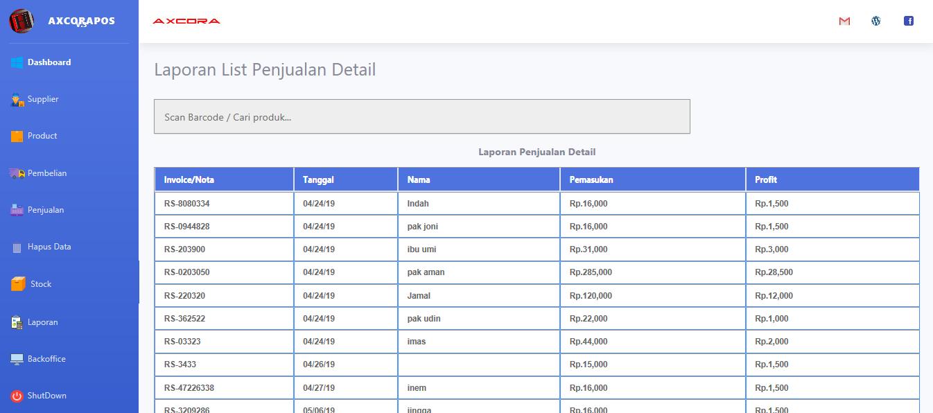 laporan penjualan detail aplikasi kasir ONLINE android iphone windos