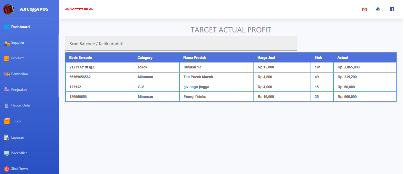 target actual profit aplikasi kasir ONLINE android iphone windos