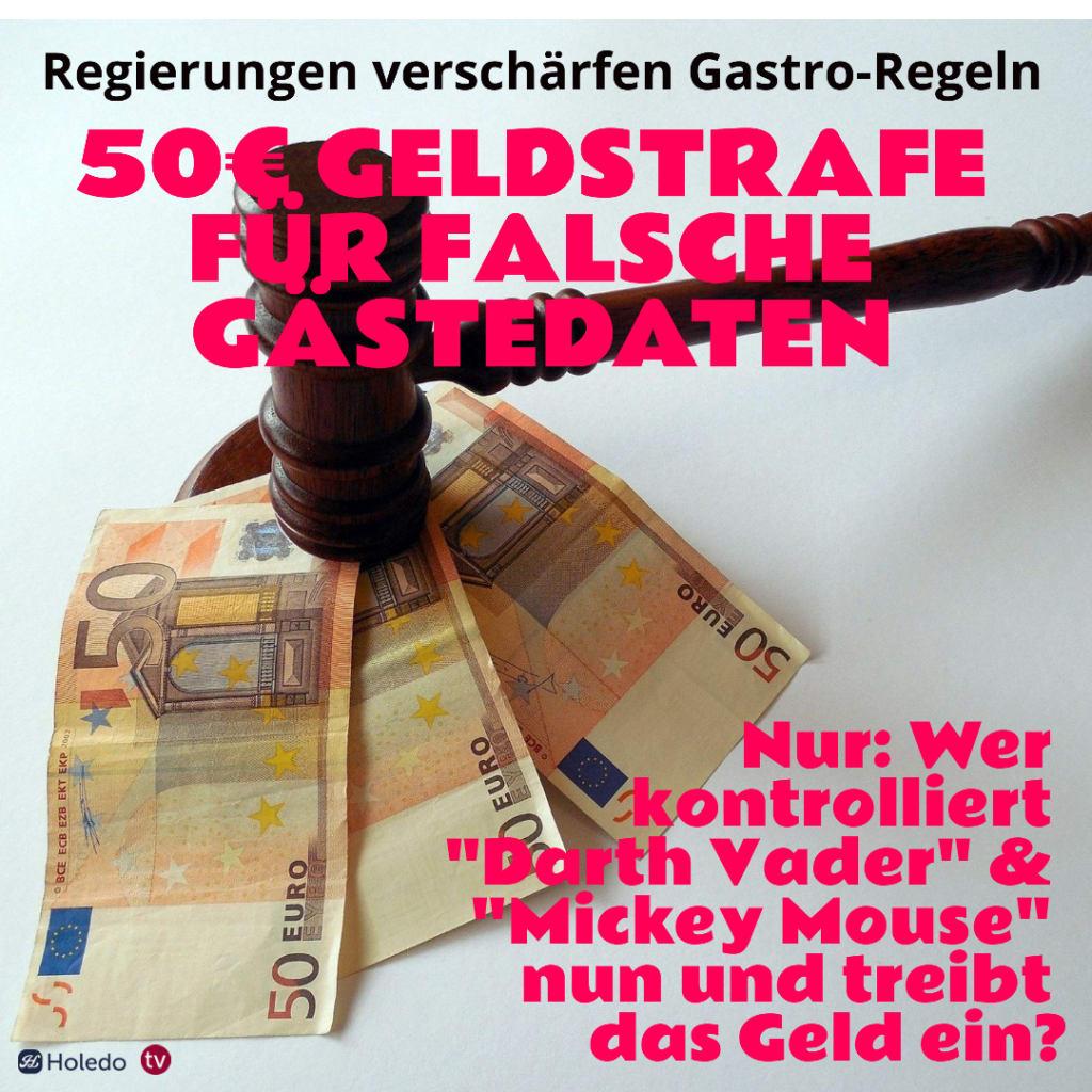 50 Euro Geldstrafe für Angabe von falschen Gästedaten