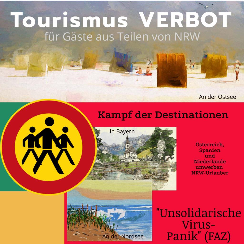 """""""Unsolidarische Virus-Panik"""" lautert ein Kommentar in der """"FAZ"""" zum Tourismus-Verbot für manche NRW-Urlauber in Bayern sowie an Ostsee und Nordsee... (Grafik: HOTELIERTV)"""