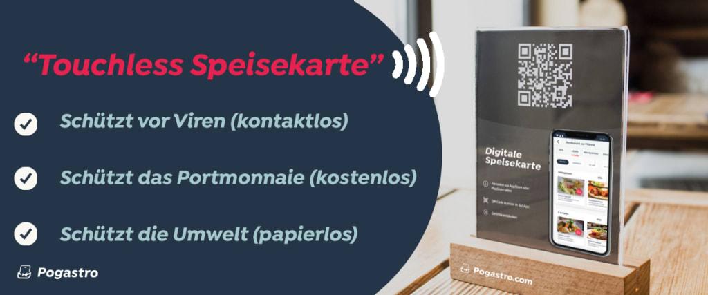Endlich geht es mit der #Digitalisierung der #Gastronomie entscheidend voran: Digitale Speisekarte, echter #ECommerce #MCommerce für Take-away-Bestellungen, Erfassung von Kontaktdaten (zur Nachverfolgung bei Infektionen) für Kundenbindungsinstrumente! Ein Schweizer Start-up bietet eine Touchless Speisekarte kostenfrei an: http://www.pogastro.com/touchless (Kurze Distance-Schulung, Erfassung des Menüs mit Menütool, QR-Code erstellen und auf Tische platzieren)