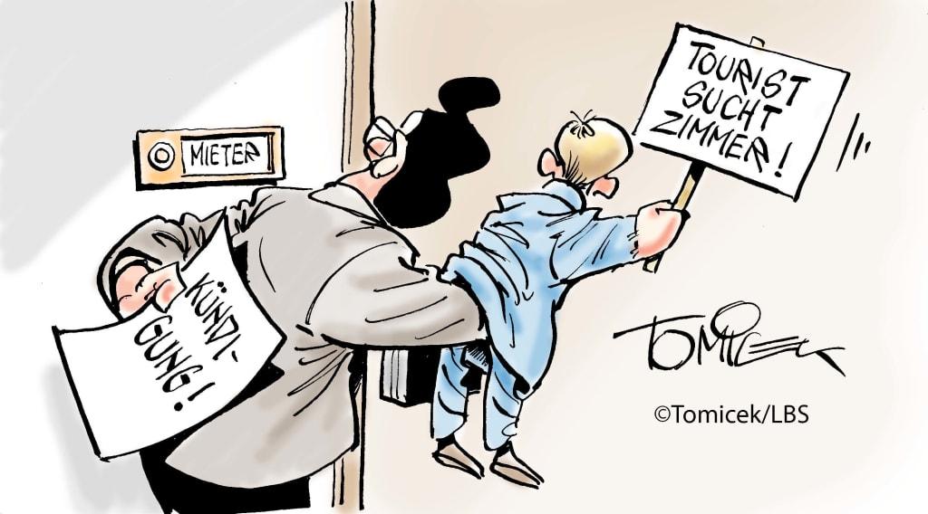 Vermieter darf unter Umständen detektivische Mittel einsetzen / Bei Hinweisen auf ein erhebliches vertragswidriges Verhalten kann es dem Vermieter einer Wohnung erlaubt sein, einen sogenannten Agent Provocateur (eine Art Spitzel) einzusetzen, um die Pflichtverletzung nachzuweisen. So entschied es nach Auskunft des Infodienstes Recht und Steuern der LBS ein Gericht in der Bundeshauptstadt. (Landgericht Berlin, Aktenzeichen 63 S 309/19) (Karikatur: Tomicek/LBS)