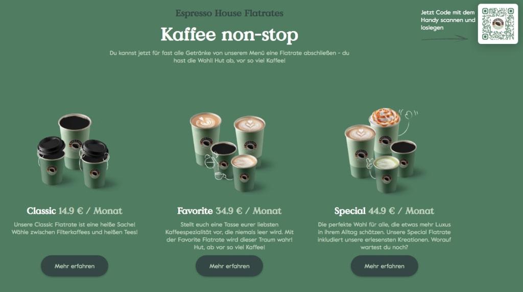 Espresso House Kaffee-Flatrates