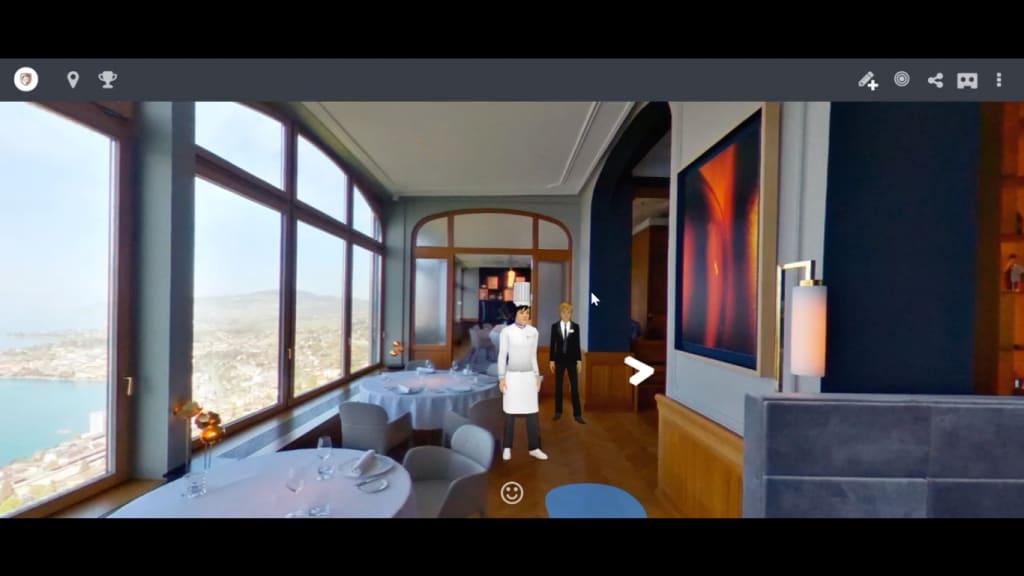 Virtueller Chef bei Restaurant Le Bellevue (Screenshot: Sommet Education)