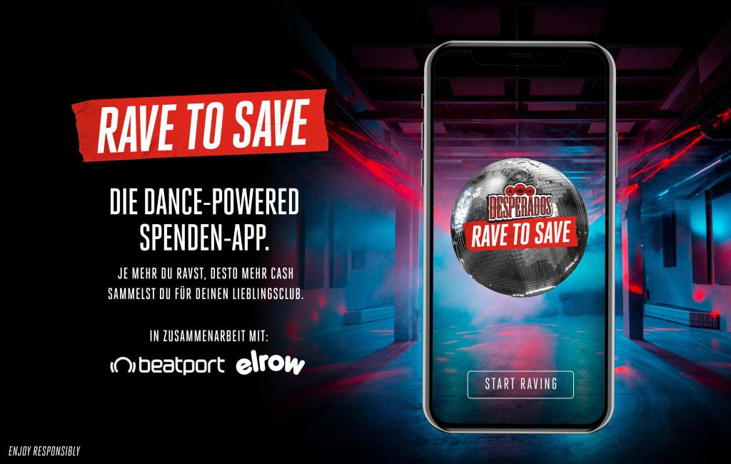 Desperados launcht die weltweit erste Fundraising-Dance-App - eine Spendenaktion zugunsten von Europas Nightclub-Branche / The new Rave to Save app by Desperados calls on the party community to support clubs hit by the pandemic by doing what they do best - dancing.