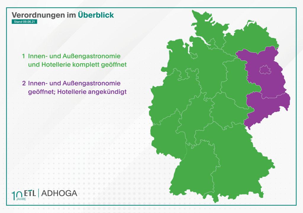 Infografik aktueller Öffnungsstand Gastronomie und Hotellerie./ ETL ADHOGA