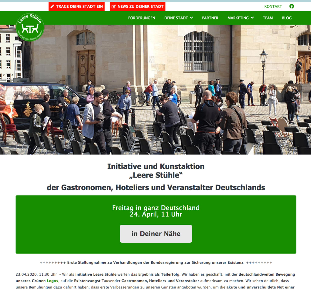 "Kunstaktion ""Leere Stühle"": Hoteliers und Gastronomen wollen so protestieren - https://www.leere-stuehle.de"