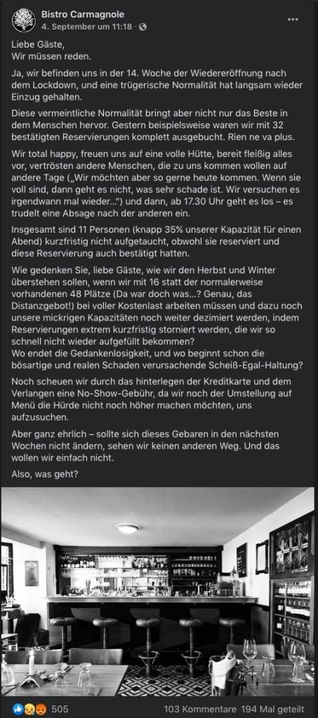 Bistro Carmagnole Hamburg Facebook Post