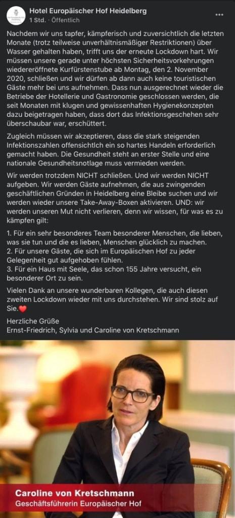 Caroline von Kretschmann vom Hotel Europäischer Hof Heidelberg zum Lockdown Light