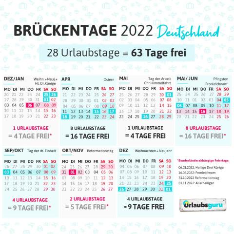Urlaubs- und Brückentage 2022: So viele freie Tage gibt's in Deutschland
