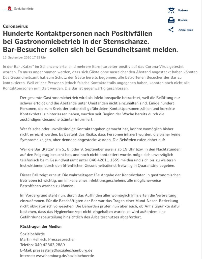 Falsche Gästedaten bei Coronafall in Szenebar in Hamburg