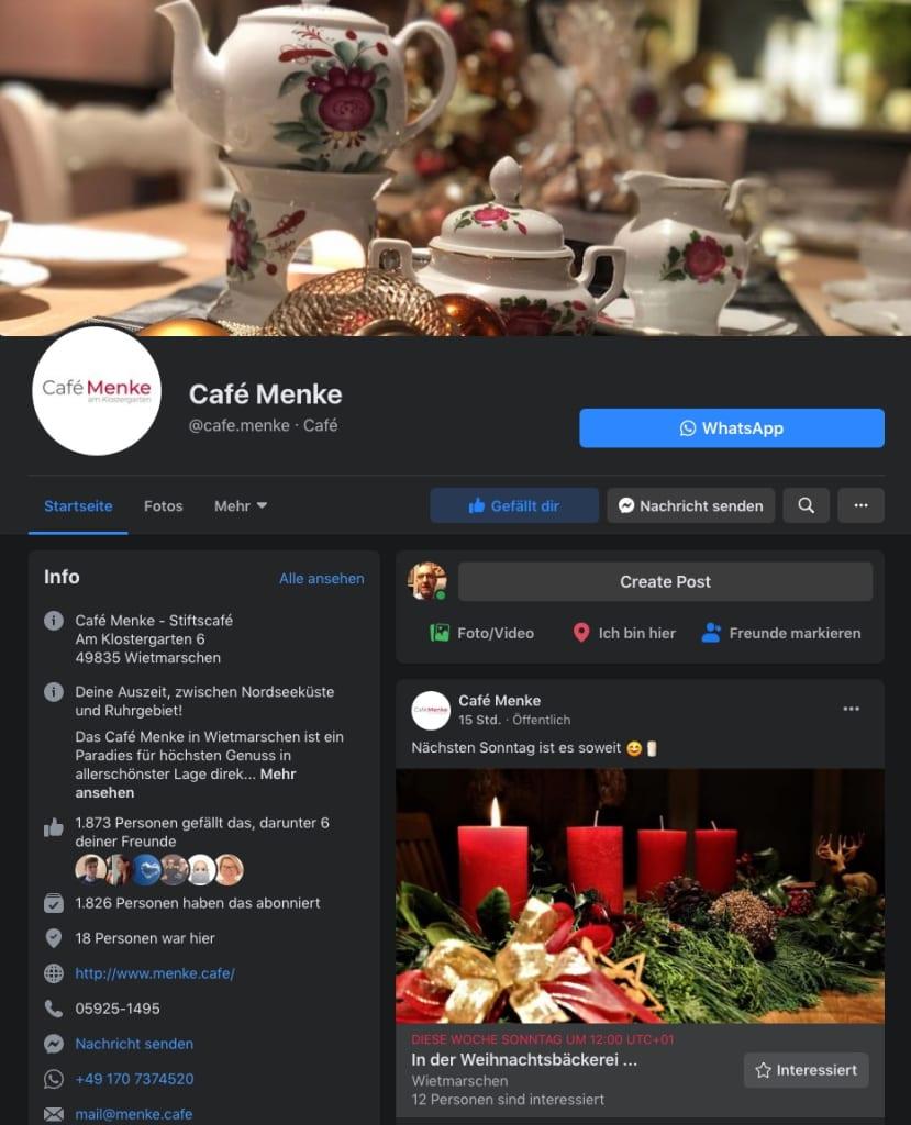 Café Menke bei Facebook